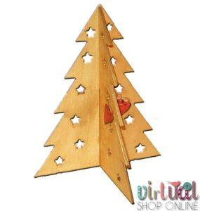 árbol de navidad dorado con técnica de decoupage.