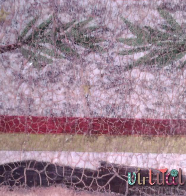 muestra de craquelado sobre servilleta con pátina marrón