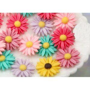 Flores de resina, surtidas